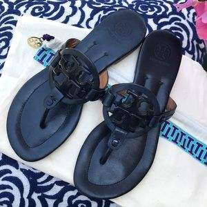 Tory Burch Miller Leather Sandal Navy
